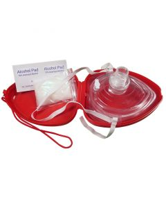 Contents of the Pocket Mask with O² Inlet in Lifeguard Red