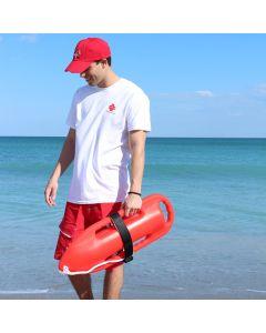 Lifeguard Wearing Red Lifeguard Aged Look Cap At The Beach
