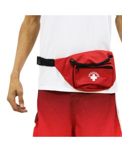 3 Pocket Lifeguard Hip Pack in Lifeguard Red with White Lifeguard Logo and Black Strap Worn