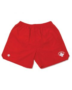 Front of Lifeguard Shorts in Lifeguard Red with White Lifeguard Logo