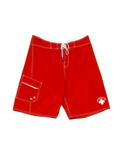 Front of the Lifeguard Surfer™ Board Short in Lifeguard Red With White Drawstring and White Lifeguard Logo