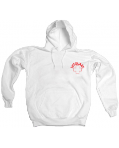 Front of the Lifeguard Hoodie™ Sweatshirt in White with Red Lifeguard Logo