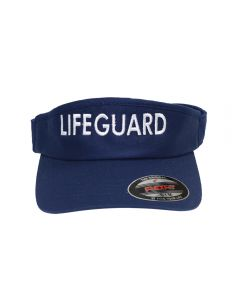 Lifeguard Flexfit® Visor in Navy with White Lifeguard Text