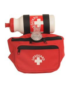 Red Waterpark Lifeguard Hip Pack With White Lifeguard Logo w/ Red and White Lifeguard Bottle & Seal Quik