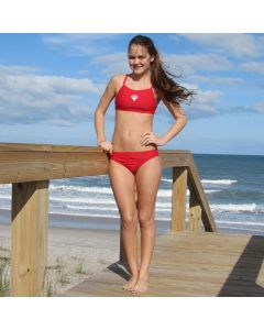 Lifeguard Proback 2-Piece in Lifeguard Red with White Lifeguard Logo Worn by Lifeguard at the Beach