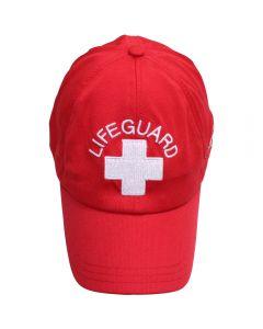 Front of the Lifeguard Xtreme Cooling Cap, Lifeguard Red (Standard Lifeguard Logo)