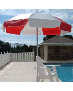 Lifeguard Red and White Lifeguard Umbrella on White Lifeguard Chair by the Pool