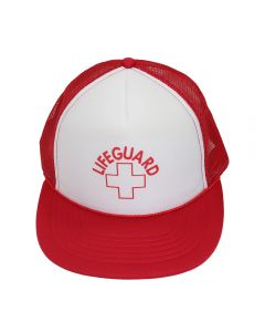 Front of Lifeguard Trucker in Lifeguard Red with White with Red Lifeguard Logo