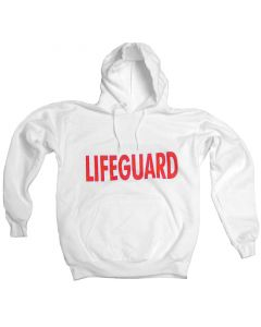 Front of Lifeguard Hoodie™ Sweatshirt in White With Lifeguard Red Print