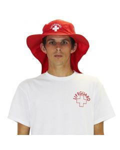 Front of the Lifeguard Adjustable Sun Hat in Lifeguard Red with White Lifeguard Logo Worn by Lifeguard