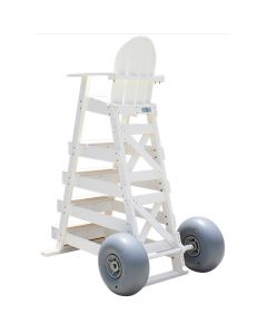 Lifeguard Chair Wheel Kit in White with Grey Wheels Installed on White Lifeguard Chair