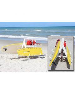 White Recycled Plastic Rescue Equipment Caddy In Use With White and Yellow Backboards and Red Rescue Can On The Beach