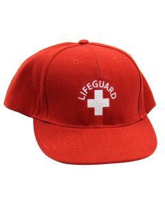 Front Of Red Lifeguard Flat Brim Cap With White Lifeguard Logo