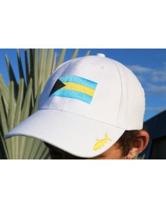 Front of the White Gray Ghost The Bahamas Cap With Black, Blue and Yellow Logo