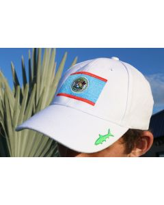 Front of the White Gray Ghost Belize Cap With Belize Flag Logo