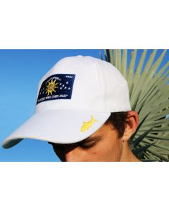 Front of the White Gray Ghost Conch Republic Cap With Flag