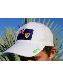 Front of the White Gray Ghost Turks and Caicos Islands Cap With Flag