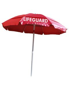 Red Solarlyte™ Lifeguard Print Umbrella Front