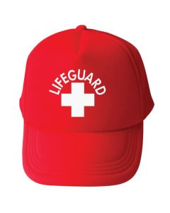 Red Ladies Lifeguard Trucker with White Lifeguard Logo