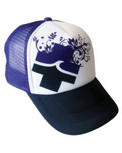 Front of the Purple, Black And White Full Bloom™ Trucker