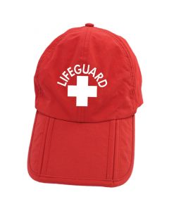 Front of Red Folding Lifeguard Cap With White Lifeguard Logo