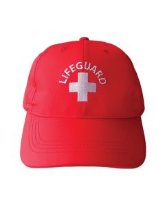 Red Lifeguard Safety Cap Front With White Lifeguard Logo