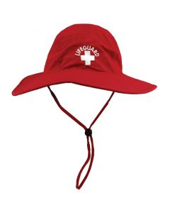 Red Wide Brimmed Lifeguard Sun Hat Front With Red Cord and White Lifeguard Logo