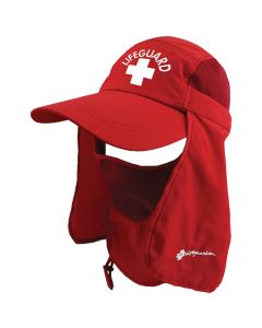 Front of the Red Multi-Function Lifeguard Sun Cap with White Lifeguard Logo