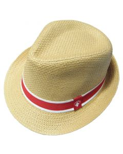 Top of Straw Lifeguard Trilby With Red and White Band with White Lifeguard Logo
