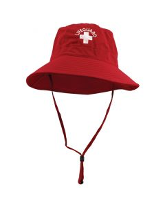 Front Of Lifeguard Red Lifeguard Bucket Hat With Red Cord And White Lifeguard Logo