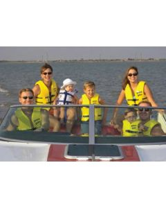 People on a Boat Wearing USCG Adult Super•Soft® Vests in Various Sizes