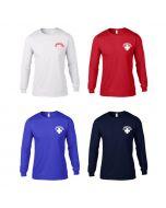 Front of Long Sleeve Lifeguard Rash Shirt in White w/Red Lifeguard Logo, Lifeguard Red™, Royal & Navy w/ White Lifeguard Logo