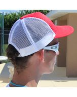 Back of Lifeguard Red with White Lifeguard Trucker Worn