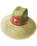 Lifeguard Straw Hat Front With Red Cord and Red Patch with White Lifeguard Logo